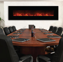 An electric fireplace that fits into corporate, commercial or residential settings