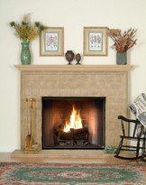 Italian Tile with beautiful detail brings subtle Tuscan design elegance to your fireplace mantel.  Stone Hearth and wood mantel shelf included.
