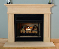 "The Villanova is shown with optional hearth.  Fits most 36"" fireplaces"