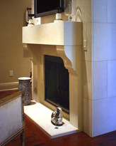 The Corbel stone fireplace mantel shown with optional hearth.