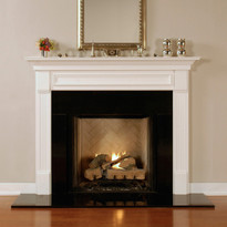 The Fredricksburg shown in semi gloss white. Fredricksburg Fireplace Mantel  Standard Sizes