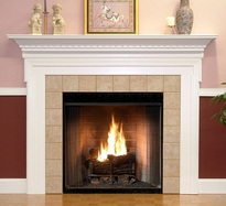 The Nashborough mantel surround shown in semi gloss white.