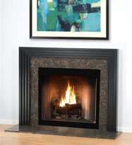 The Contemporary fireplace is shown here without the shelf.