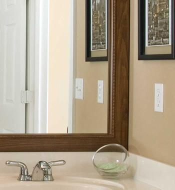 bathroom mirror frame tile. Wonderful Tile Waco Brown Mirror Frame Corner Detail Intended Bathroom Tile S