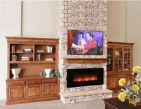 "AL60CLX Modern Flames electric fireplace, mounts on or recesses into a wall.  Realistic Flames.  12"" minimum clearance below the unit because the heat is blown out of the bottom"