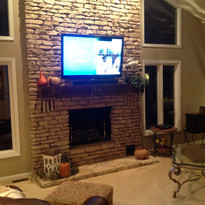 Appalachian mantel shelf with stone surround