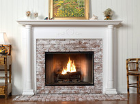 A detailed center piece adds that special touch to this fireplace.