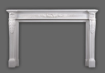 The Auguste Louis XVI Marble Mantel has fine details.  Italian Bianco