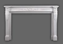 The Auguste Louis XVI Marble Mantel has fine details.  Italian Bianco