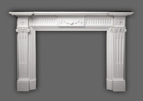 The Federal manrble mantel shown in Italian Bianco.