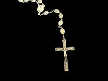 "Special Divine Mercy Rosary featuring detailed silver beads engraved with ""Jesus, I Trust In You."