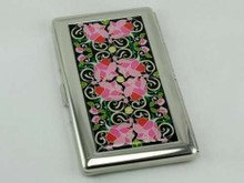 Pink Floral Mirror Cigarette Case