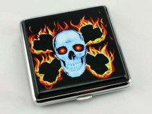 Flaming Skull Cigarette Case