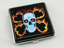 Flaming Skull Cigarette Case
