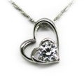 Sterling Silver Necklace, Double Heart Women Pendant, CZ Stone, Free Chain