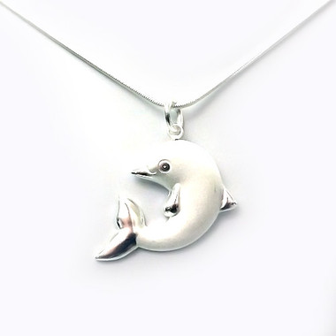 925 sterling silver dolphin pendant elegant women necklace 18k image 1 aloadofball Image collections