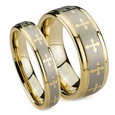 Matching Tungsten Rings Gold Plated Cross Wedding Bands Set 5MM