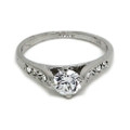 White-Gold Plated Promise Ring with Classic CZ Stone