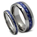 Matching Tungsten Wedding Band Set, Blue Carbon Fiber Ring Set
