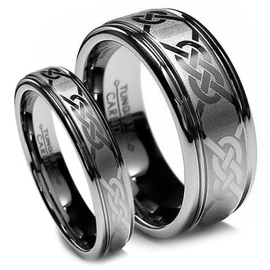 Matching Tungsten Wedding Band Set Laser Etched Celtic Engraving