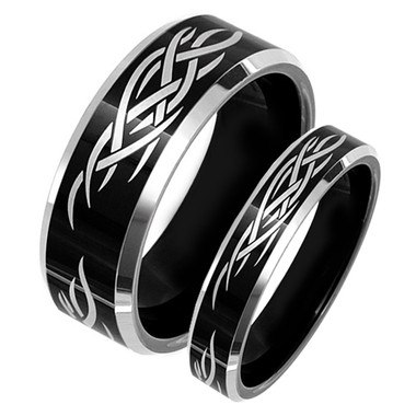image 1 - Black Wedding Ring Set