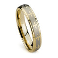 Women Tungsten Ring, Wedding Band Gold Plated with Crosses, Flat Top, 5MM