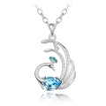 Blue Crystal Peacock Pendant,  Women Sweater Necklace FREE  Chain