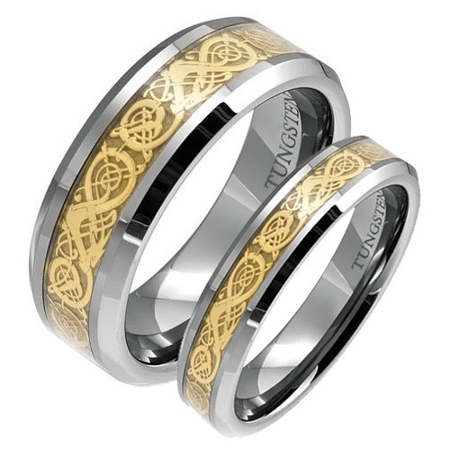 Matching Tungsten Wedding Band Set His And Her Gold Dragon Rings Top