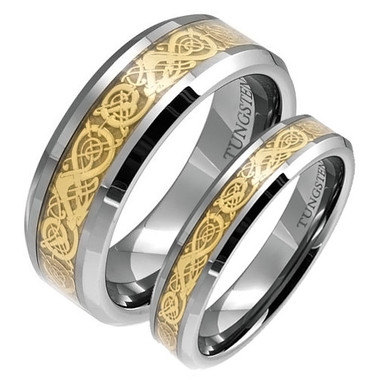 Matching Tungsten Wedding Band Set His and Her Gold Dragon Rings