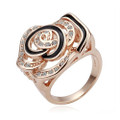 Rose-Gold Plated, Sparkling Rose Fashion Ring