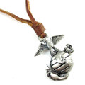 Genuine Leather Adjustable Necklace with Brushed Chrome USMC Pendant