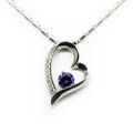 925 Sterling Silver Necklace, Heart Charm Pendant,  Purple Crystal,  Free Chain