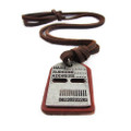 Brown Leather Adjustable Necklace with Chrome Dog Tag Pendant