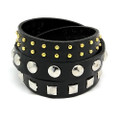 Black Leather Wrap Around Adjustable Studded Bracelet