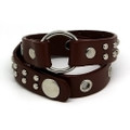 Brown Leather Wrap Around Adjustable Bracelet