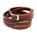 Brown Skinny Leather Wrap Around Adjustable Bracelet with Belt Buckle Closure