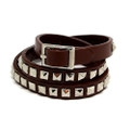 Brown Skinny Studded Leather Wrap Around Adjustable Bracelet with Belt Buckle Closure