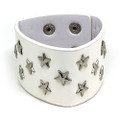 Thick White Star Studded Leather Bracelet