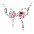 Pink Crystal Bow Pendant, Women Necklace FREE  Chain