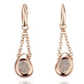18K Rose Gold Plated Earrings Crystal Embellished Raindrops