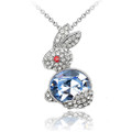 Blue and Clear Crystal Rabbit Pendant, Women Necklace FREE  Chain