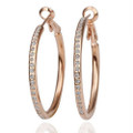 18K Rose Gold Plated Earring Hoops with Crystal Accents