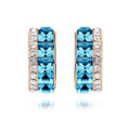 18K Gold Plated Earring Aqua and Clear Stylish Crystal Studs
