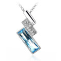 Blue and Clear Crystal Symmetrical Pendant, Women Necklace FREE  Chain