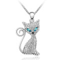Blue and Clear Crystal Cat Pendant, Women Necklace FREE  Chain