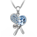 Blue Crystal Tennis Rackets Pendant, Women Necklace FREE  Chain