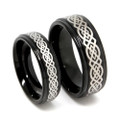 Matching Tungsten Wedding Band Set, His & Hers Black Celtic Ring Set, Step High Polish Edge, 8MM & 6MM