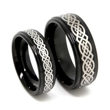 matching tungsten wedding band set his hers black