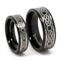 Matching Tungsten Wedding Band Set, His & Her Black Laser-Etched Celtic Design Rings, High Polish Black Finish and Step Edge, 8MM & 6MM