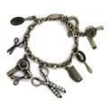 Fashionable Antique Hair Stylist Themed Charm Bracelet